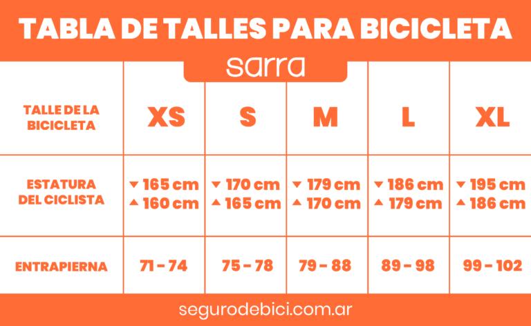 Seguro Bicicleta - Imagen de una tabla de talles para bicicleta