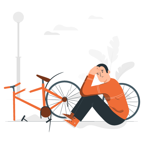 Seguro de bici - Ilustración de una bici rota representando la cobertura de destrucción total en un seguro de bici