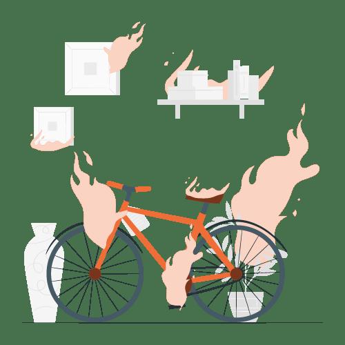 Seguro de bici - Ilustración de una bicicleta prendida fuego dentro de una casa. Representando la cobertura de incendio en el seguro para bicicletas.