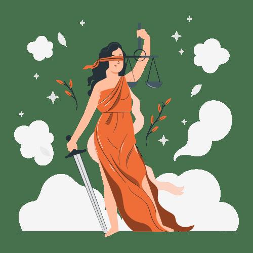 Seguro de bici - Ilustración de una mujer con una balanza en una mano y una espada en la otra. Representando la cobertura de Responsabilidad Civil en el seguro para bicicletas.