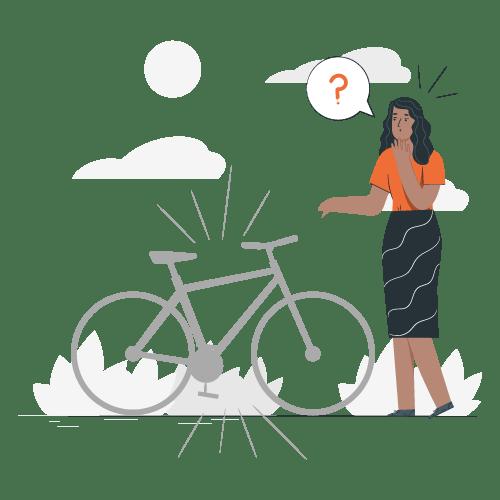 Seguro de bici - Ilustración de una mujer sorprendida al notar que su bicicleta fue robada. Representando la cobertura de Robo Total en el seguro de bicicletas.