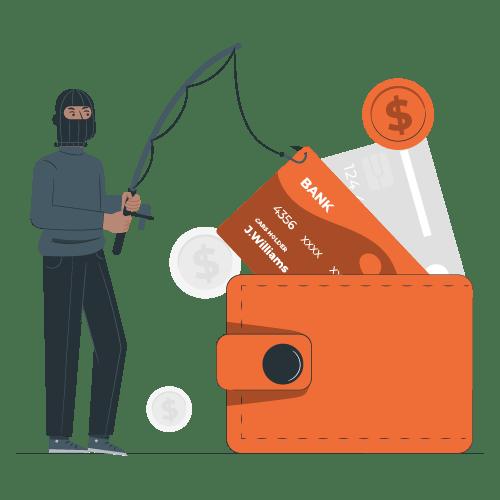 Seguro de bici - Ilustración de un ladrón quitando de una billetera una tarjeta de crédito. Representando la cobertura de Robo de Efectos personales en el seguro para bicicletas.