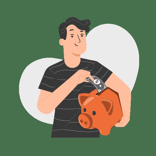 Seguro de Bici - Ilustración de un chico poniendo dinero un una alcancía gracias a que consiguió su seguro de bicicleta más barato. Representando el ahorro de conseguir un seguro de bicicleta mas barato.