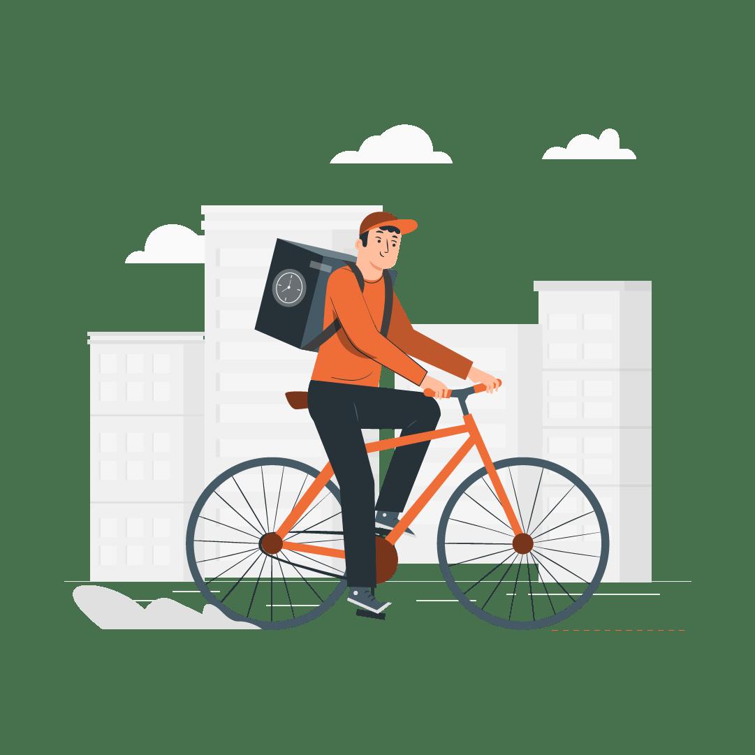 Seguro Bicicleta - Imagen ilustrativa de un repartidor arriba de una bicicleta tipo delivery