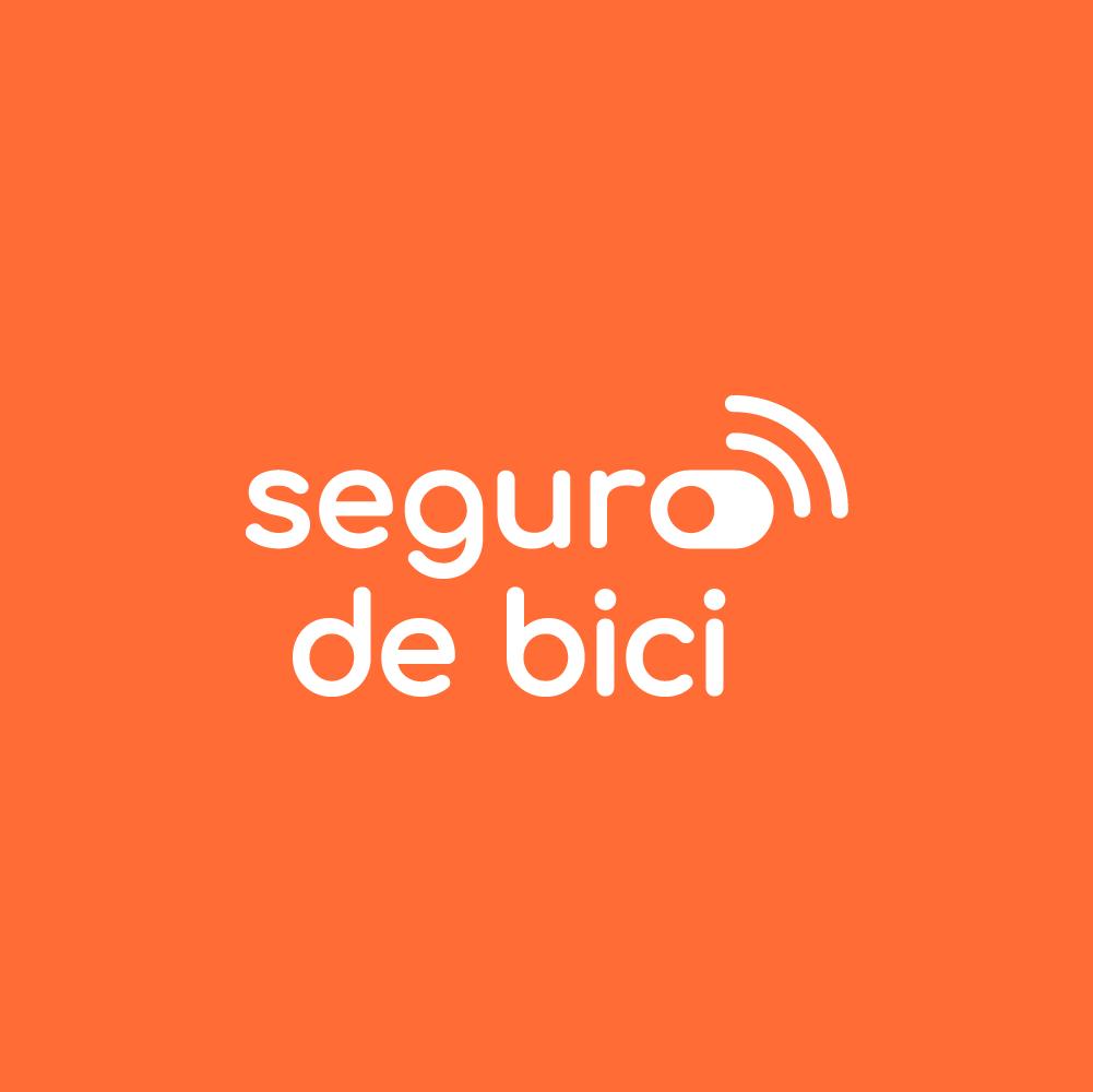 Seguro para Bicicletas - Logo de segurto de bici con fondo naranja
